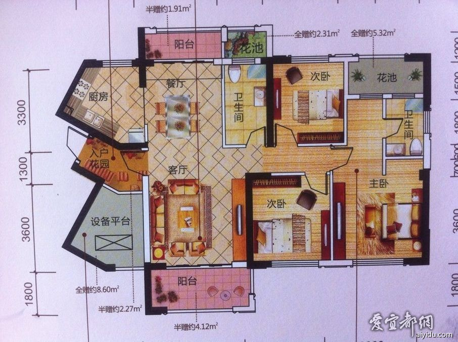 户型请看下图,3室2厅2卫1厨1入户花园2阳台1设备平台(约8.